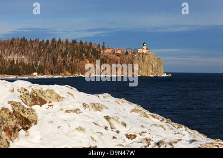 Split Rock Lighthouse in winter. North Shore of Lake Superior, Minnesota. - Stock Image