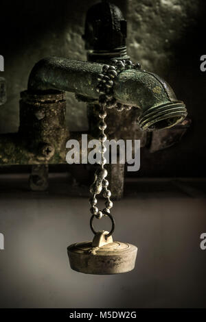 Artistic View Of Old Faucet & Rubber Drain Plug - Stock Image