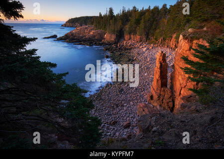 Sunrise at Monument Cove in Acadia National Park in Maine - Stock Image