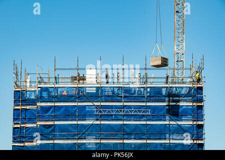Gosford, New South Wales, Australia - August 29. 2018: Construction and building progress update 119  on new home units building site at 47 Beane St. - Stock Image
