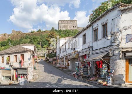 Gjirokasta Old town with castle, Albania - Stock Image