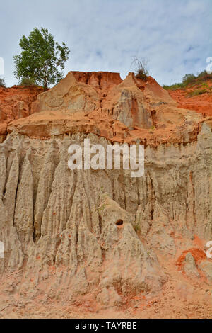 The canyon walls of a section of The Fairy Stream (Suoi Tien) in Mui Ne, Binh Thuan Province, Vietnam - Stock Image