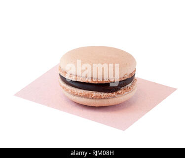 Peanut butter and chocolate flavoured macaron - Stock Image