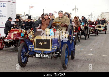 Dr Alexander Schroeder-Frerkes, driving his 1904 Autocar, across the finish line, in Madeira Drive, at the end of the 2018 London to Brighton Veteran Car Run - Stock Image