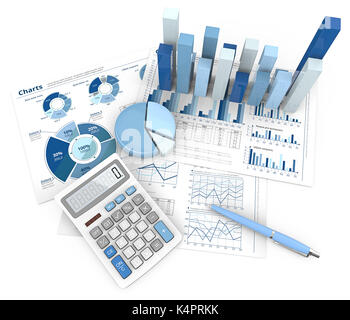 3d Illustration of Financial documents 3D graphs and pie charts. Pen and Calculator. Top view. Blue theme. - Stock Image