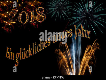 Ein gluckliches neues Jahr 2018 elegant gold white aqua purple turquoise fireworks for sophisticated Happy New Year - Stock Image