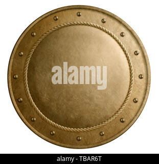 Large bronze metal round shield isolated 3d illustration - Stock Image