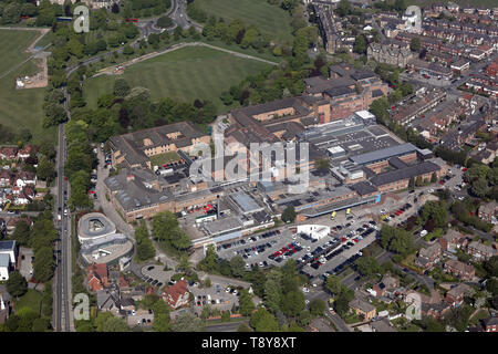 aerial view of Harrogate District Hospital, Harrogate, North Yorkshire, UK - Stock Image