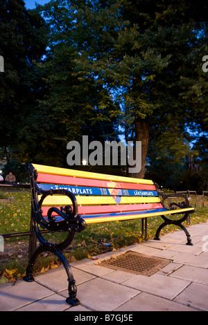 djurgarden bench stockholm city - Stock Image