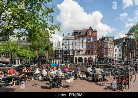 Street Cafe , Prinsengracht, Amsterdam, Netherlands - Stock Image
