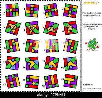 IQ training abstract visual puzzle: Find the two identical images in every row. Suitable both for adults and gifted children. Answer included. - Stock Image
