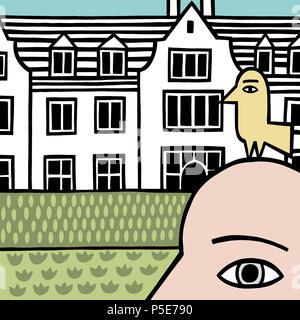 A bird on the head - Stock Image