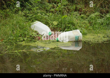 Two plastic milk bottles on the edge of a pond - Stock Image