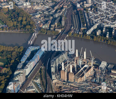 Aerial view of construction at Battersea power station, London - Stock Image