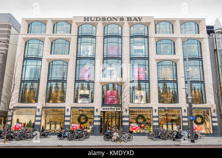 Exterior of department store Hudson's Bay on the Rokin in Amsterdam, the Netherlands - Stock Image