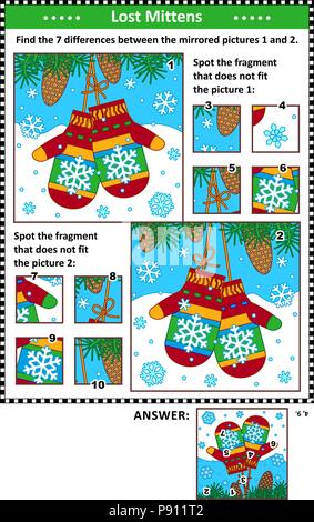 New Year or Christmas visual puzzles with pair of knitted mittens. Find the differences between the mirrored pictures. Spot the wrong fragments. - Stock Image