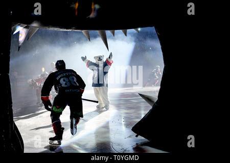 Berlin, Germany. 22nd Mar, 2019. Ice hockey: DEL, Eisbären Berlin - EHC Red Bull Munich, championship round, quarter finals, 4th matchday. Berlin's James Sheppard breaking in. Credit: Britta Pedersen/dpa-Zentralbild/dpa/Alamy Live News - Stock Image