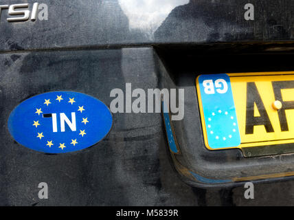 Anti Brexit Bremain protest on a UK car in Malaga Spain. - Stock Image
