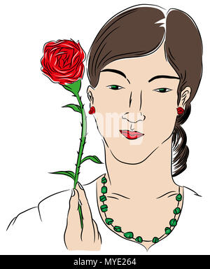 Woman and rose.  Woman holding a red rose. illustration of beautiful woman holding rose with hand. - Stock Image