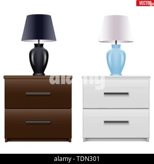 Bedside nightstand with night light - Stock Image