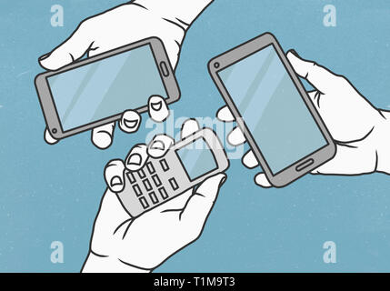 View from above hands holding cell phone and smart phones - Stock Image