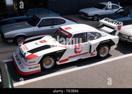 Aerial View of a Zakspeed Ford Capri, in the Pit Lane, during the 2019 Silverstone Classic Media Day - Stock Image