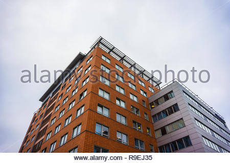 Poznan, Poland - November 16, 2018: Top of the Globis office building on the Roosevelta street.  - Stock Image