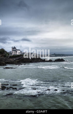 Rocky coast in Biarritz, Pays Basque, France - Stock Image