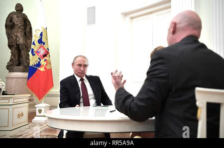 Russian President Vladimir Putin during a meeting with FIFA President Gianni Infantino, right,  at the Kremlin February 20, 2019 in Moscow, Russia. - Stock Image