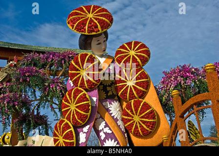 Rose Parade Float Tournament Volunteers' Trophy 'Festival of Flowers ' City of Torrance Pasadena CA - Stock Image