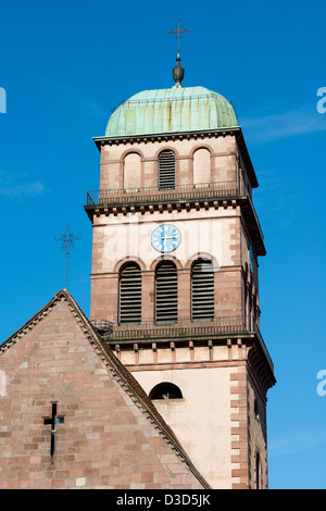 Tower of Sainte Croix church, Kaysersberg, France - Stock Image