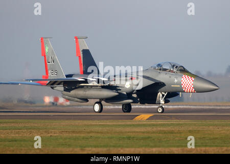The first F-15E Strike Eagle with the 48th Fighter Wing at RAF Lakenheath to wear a heritage colour scheme in honour of the 75th anniversary of D-Day. - Stock Image