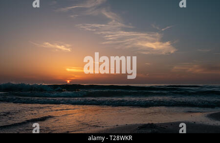 View of Sunset at Beach - Stock Image