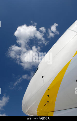nose of the Jet Airways Boeing 777-300ER at the Paris AirShow 2007 Salon-du-Bourget - Stock Image