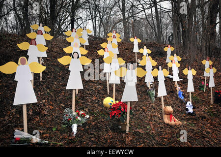 Newtown--A display of 26 wooden angels with the names of the slain children near the center of Sandy Hook.   , - Stock Image