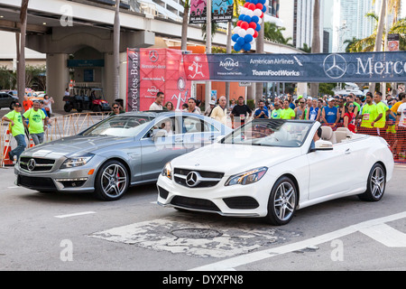Mercedes Benz pace cars at the 2014 Mercedes-Benz Corporate Run in Miami, Florida, USA. - Stock Image