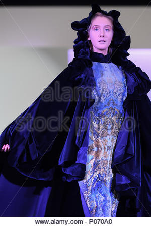 Southampton, England, UK,  8th June 2018. Solent university tonight held its BA (HONS) Fashion graduate show in Southampton to showcase the skills and imagination of the final year students. This collection is from student Zhane Quashie and is focused on the oppression of people with colour . Paul Watts/Alamy live news Credit: PBWPIX/Alamy Live News - Stock Image