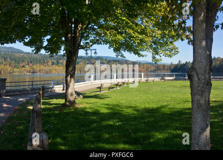 Shoreline path at Rocky Point Park in Port Moody, BC, Canada. - Stock Image