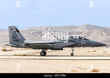 """Israeli Air Force (IAF) McDonnell Douglas F-15D Landing. Photographed During the  """"Blue-Flag"""" 2017, an international - Stock Image"""