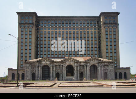 Michigan Central Station (also known as Michigan Central Depot or MCS) is a historic former main intercity passenger rail depot in Detroit, Michigan. - Stock Image