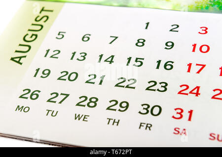 Wall Calendar August  month. Your may show event day - Stock Image