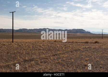 Power lines running through arid landscape - Stock Image