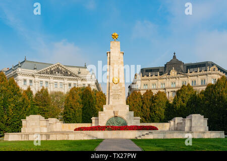 Morning view of the Soviet War Memorial at Budapest, Hungary - Stock Image