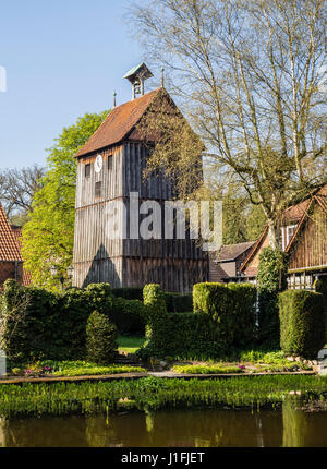 Bell tower, Kloster Wienhausen monastery, half-timbered, near  the mill pond, Wienhausen near Celle, Lower Saxony, - Stock Image