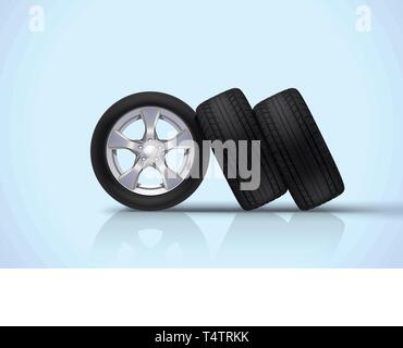 car wheels group on blue - Stock Image