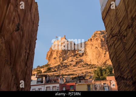 Santa Barbara Castle, which stands on Mount Benacantil, overlooking the center of Alicante in Spain. - Stock Image