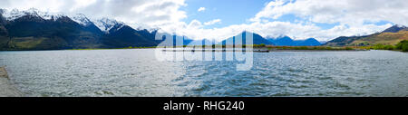 Panoramic view over Lake Wakatipu, South Island, New Zealand - Stock Image