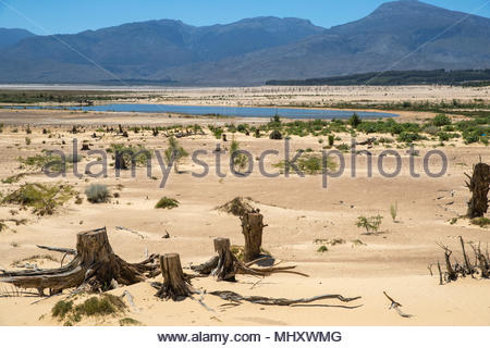 Drought Stricken Landscape In Theewaterskloof Dam Area Of Western Cape In South Africa - Stock Image
