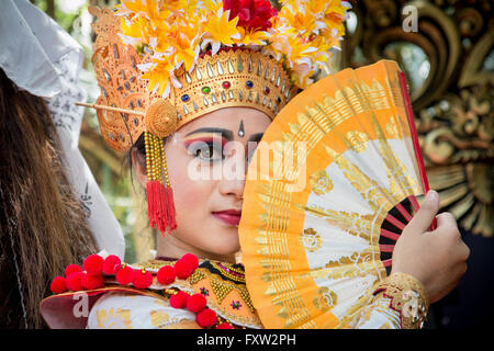 Portrait of Balinese Legong Dancer - Stock Image