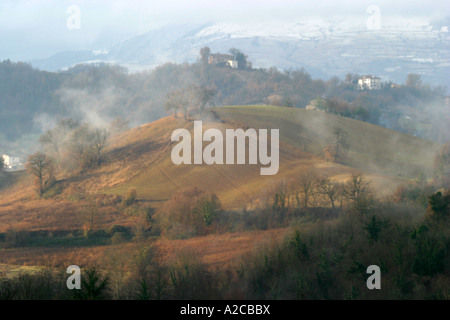 Mist and snow on the mountains in the beautiful Sibillini National Park near Amandola Le Marche Italy - Stock Image